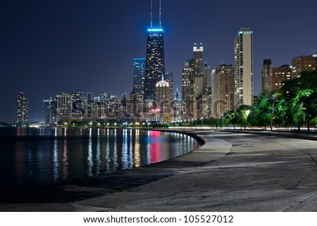 Chicago skyline. Image of the Chicago downtown lakefront at night. - stock photo