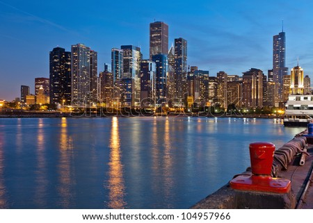Chicago Skyline. Image of the Chicago downtown skyline at dusk. - stock photo
