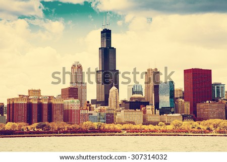 Chicago Skyline in Fall - stock photo