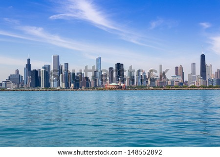 Chicago skyline in summertime - stock photo