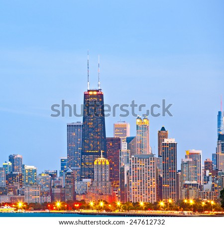 Chicago skyline of downtown buildings at sunset - stock photo