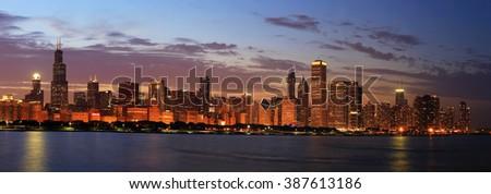 Chicago Skyline Panorama at Dusk - stock photo