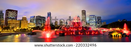 Chicago skyline panorama with Buckingham fountain in Grant Park at night, USA - stock photo