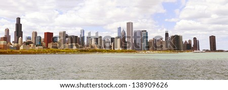 Chicago Skyline Panorama With Cloudy Sky