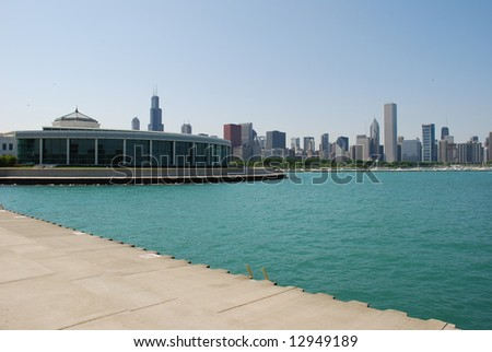 Chicago skyline, Shedd Aquarium is on the left side. - stock photo
