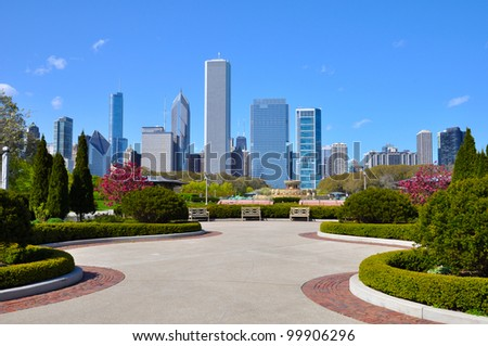 Chicago skyline - view from Grant park - stock photo