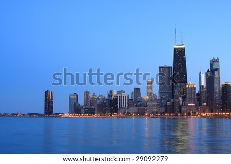 Chicago skyline viewed from the North - stock photo