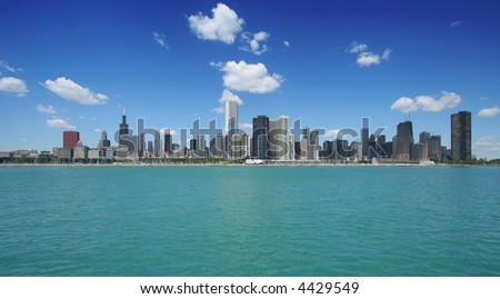 Chicago skyline (wide angle view)