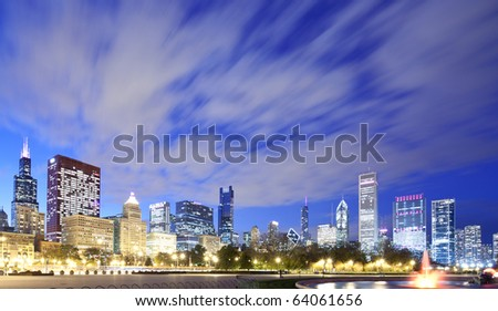 Chicago skyline with dramatic clouds - stock photo