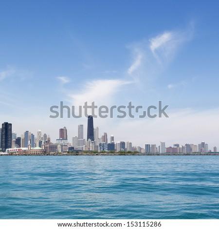 Chicago skyline with Navy Pier - stock photo
