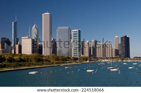 Chicago skyline with skyscrapers - stock photo