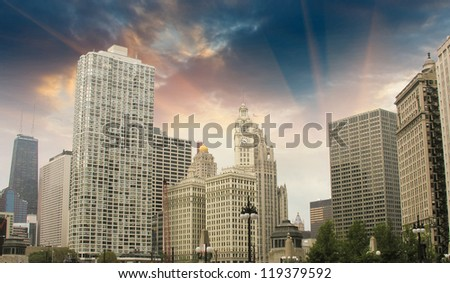 Chicago Skyline with Skyscrapers - Illinois - stock photo