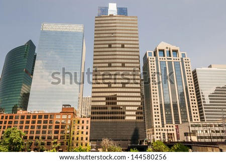 Chicago skyline with skyscrapers viewed from Chicago Opera House - stock photo