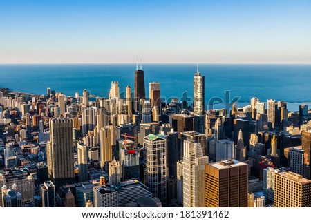Chicago skyscrapers, aerial view - stock photo
