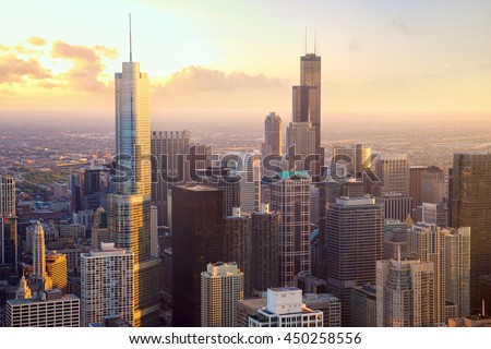 Chicago skyscrapers at sunset, aerial view, United States - stock photo