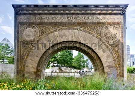 Chicago Stock Exchange Building Arch. One of the few surviving fragments from the Chicago Stock Exchange building designed in 1893 and demolished in 1972. - stock photo