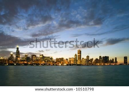 Chicago - sunset panorama - stock photo