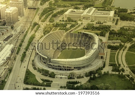 CHICAGO - UNITED STATES - JUNE 7, 2014: Empty Soldiers Filed Stadium in Chicago aerial view - stock photo