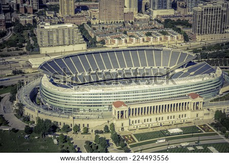 CHICAGO - UNITED STATES - SEPTEMBER 14, 2013: Empty Soldiers Filed Stadium in Chicago, vintage aerial view - stock photo