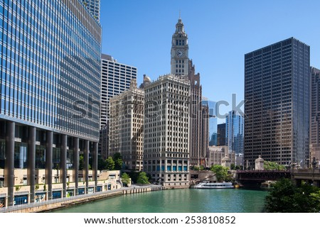 Chicago,USA-July 12,2013: Wrigley building in Chicago.The Wrigley Building is a skyscraper  with two towers (South Tower and North Tower) - stock photo