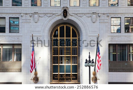 Chicago,USA - June 12,2013: Old Republic Building in Chicago.Old Republic Building is a 24-storey high-rise building in Chicago, Illinois, U.S.A - stock photo