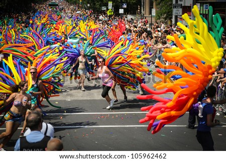 CHICAGO, USA  - JUNE 24: 800,000 people attended the annual Chicago Gay Pride parade in Chicago, USA on June 24, 2012.