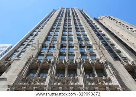 CHICAGO, USA - JUNE 27, 2013: Tribune Tower neo-gothic skyscraper in Chicago. It is 462 ft (141 m) tall and is part of Michigan-Wacker Historic District. - stock photo