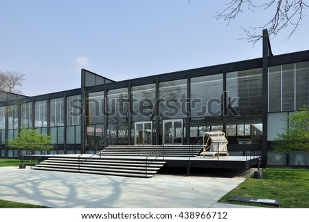 CHICAGO, USA - MAY 10, 2011: S. R. Crown Hall, designed by the German Modernist architect Ludwig Mies van der Rohe at the Illinois Institute of Technology in Chicago, USA. - stock photo
