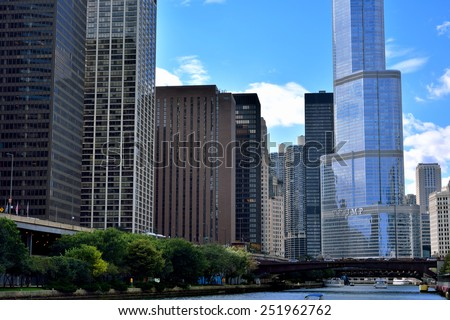 CHICAGO, USA - OCTOBER 6: City buildings beside Chicago river in downtown of Chicago, Illinois, in October 6th, 2014.Chicago is the biggest city in North of USA.