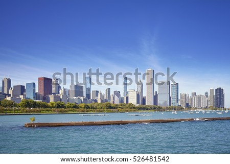 Chicago waterfront and city skyline on a sunny day, USA.