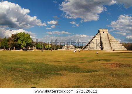 chichen Itza archaeological site maya mexico - stock photo