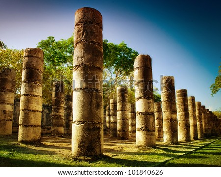 Chichen Itza, Columns in the Temple of a Thousand Warriors, Mexico - stock photo