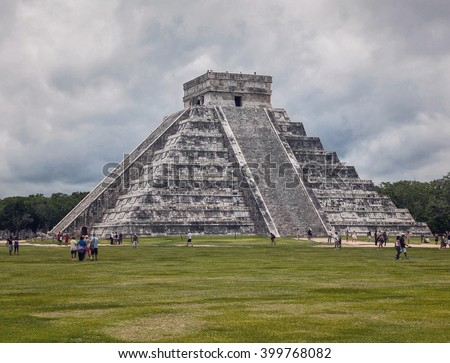 Chichen Itza feathered serpent pyramid, Mexico - stock photo