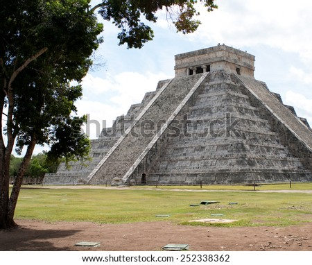 Chichen Itza is a archaeological site built by the Maya civilization located in Mexico - stock photo