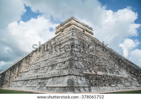 Chichen Itza- Mayan Pyramid- Mexico - stock photo