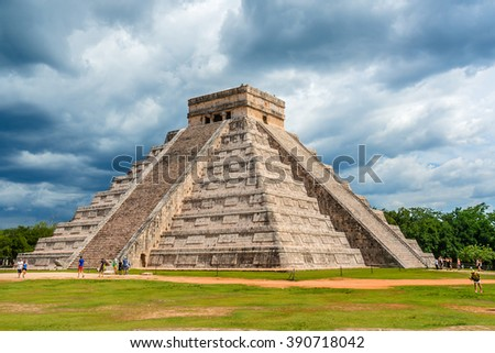 CHICHEN ITZA, MEXICO - AUGUST 2, 2015: Chichen Itza Maya ruins (large pre-Columbian city) is one of the most visited archaeological sites in Mexico.  - stock photo