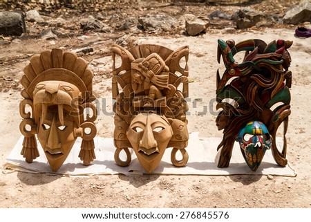 Chichen Itza, Mexico: 28 March 2015. Wooden masks mayan people. Chichen Itza, Mexico. - stock photo