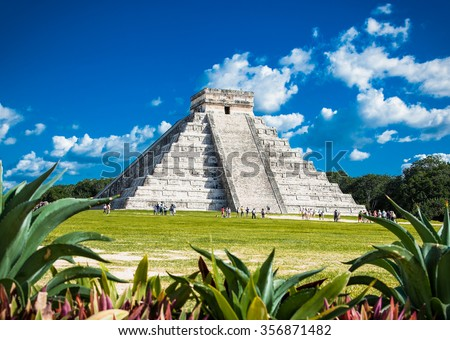 Chichen Itza, one of the most visited archaeological sites in Mexico. About 1.2 million tourists visit the ruins every year. - stock photo