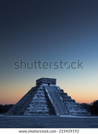 Chichen Itza Pyramid at Sunrise, Mexico - stock photo