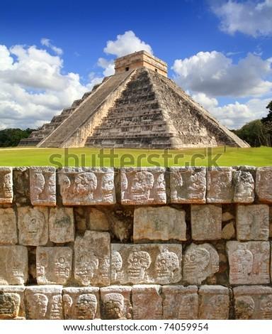Chichen Itza Tzompantli the Wall of Skulls and Kukulkan pyramid [Photo Illustration] - stock photo