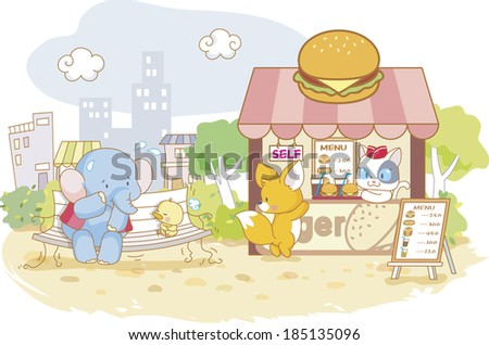 Chick and elephant waiting on bench and fox ordering hamburger - stock photo