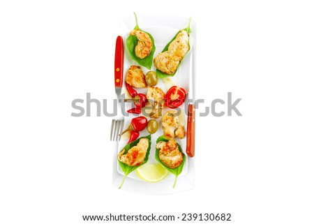 chick chops in green leaf on white - stock photo