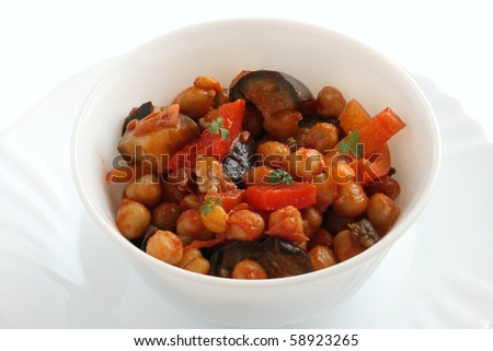 chick-pea with eggplant and sauce