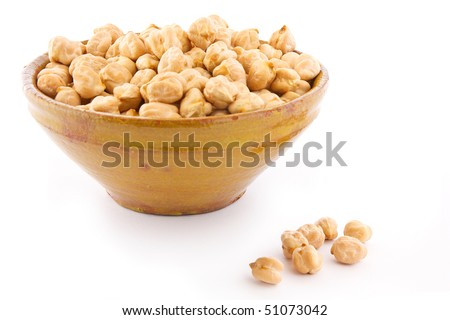 Chick Peas in a bowl isolated on white background - stock photo