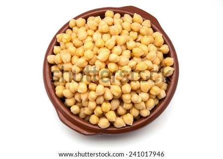 chick-peas in a mud casserole - stock photo