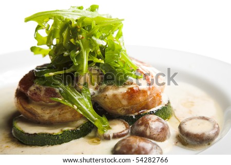 chickeh with squash and mushrooms on white plate - stock photo