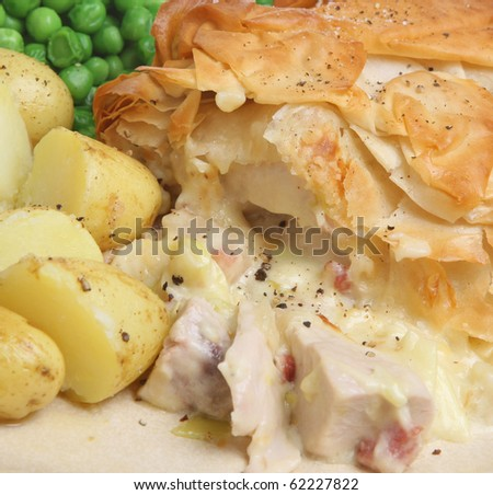 Chicken and bacon pie - stock photo