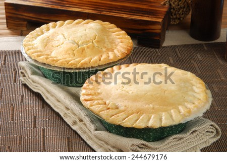 Chicken and beef pot pies cooling on a napkin - stock photo