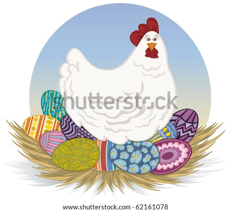 Chicken and Easter Eggs - Raster Version - stock photo
