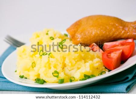 chicken and mashed potato - stock photo